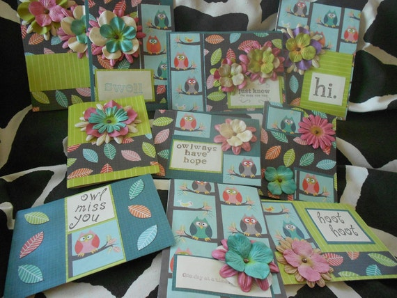 Give A Hoot Collection, set of 10 greeting cards, miss you, hello, thank you, blank card inside