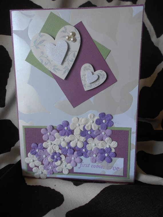 Engagement Card, first comes love, CUSTOM LISTING, reserved for Aunt K