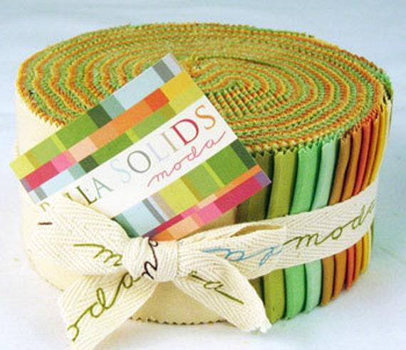 """SALE - 30% OFF - Moda Bella Solids Warm Pastels Jelly Roll (2 1/2"""" Strips)"""