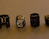 30 Black DREADLOCK Beads - DREAD Hair Beads 8mm hole & FREE Tibetan Silver Bead