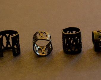 30 Black Dreadlock Filigree Cuffs Dread Hair Beads (7mm/0.28inch hole) & FREE Tibetan Silver Bead