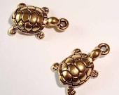 Turtle Antique Gold Bronze Brass Pendant or Charm - 2 Pisces