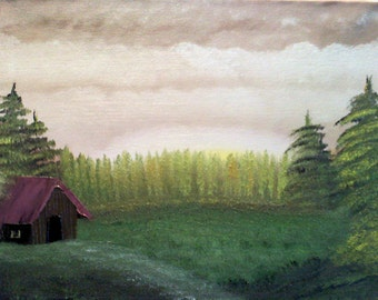 """11 X 14 """"Cabin in the Meadow"""" landscape oils on canvas painting."""