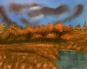 "11 X 14 ""Autumn Moonlight"" landscape oils on blue canvas painting."