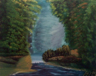 "16 X 20 ""Morning at Forest Creek"" landscape oils on black canvas painting."