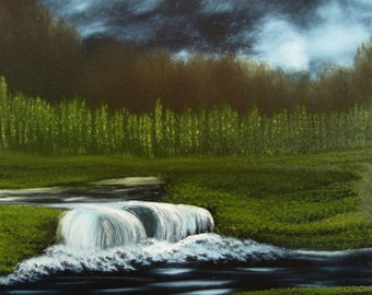 "12 X 12 ""Waterfall in the Meadow"" landscape oils on black canvas painting."