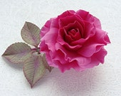 """Hair clip with a fuchsia rose """"Cabaret"""" from polymer clay"""