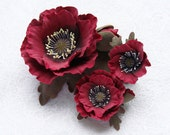 "Polymer clay jewelry set red poppy  ""Fire"". Polymer clay flowers poppy brooch, poppy ring, poppy hair clip.TO ORDER"