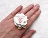 """Polymer clay flower ring with white rose """"Beautiful Lady"""" .Polymer clay jewelry."""