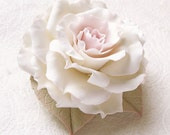 "Polymer clay jewelry. Large white rose brooch ""Lady "" . Clay flower brooch."