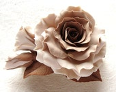 "MADE TO ORDER. Polymer clay  barrette brown and beige vintage rose ""Coffee with cinnamon"". Clay flower jewelry."