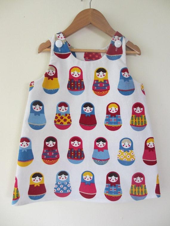 LAST ONE - dress girl baby toddler pinny Matryoshka dress..sizes 6months, 1T 2T 3T 4T 5 kids children clothing dress girlsandboys