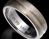 Mokume Gane Band with Yellow Gold and White Gold Palladium