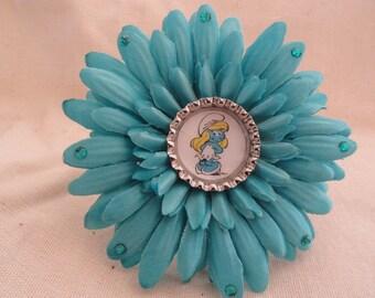 Smurfette Flower Clip