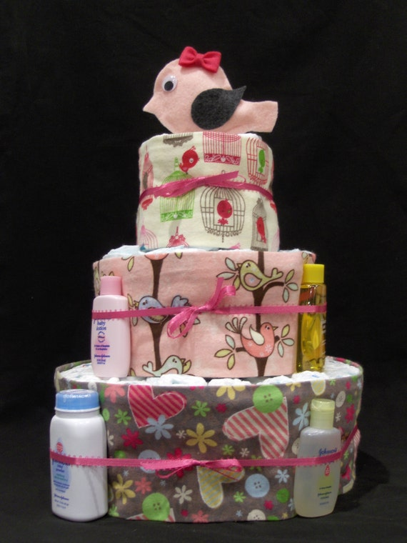 10% off use code 10CAKE at checkout baby shower gift Modern bird pink baby girl diaper cake centerpiece gifts by Brookes & Company