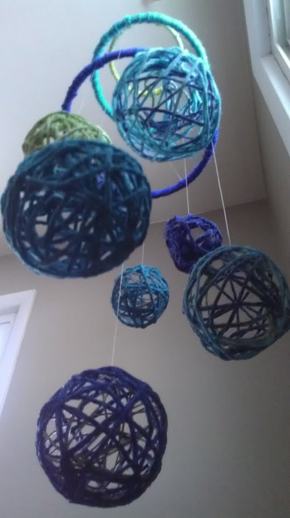 Blue Yarn Ball Baby Mobile - SALE
