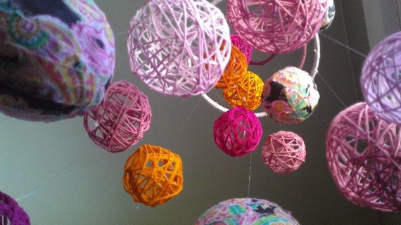 Pink Yarn & Fabric Ball Baby Mobile