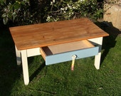 Traditional wooden low side / coffee table waxed, painted and restored lovely shape with a drawer