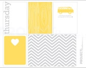 Mellow Yellow project life modern scrapbooking journaling cards in THURSDAY PDF PNG