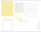 Mellow Yellow project life modern scrapbooking journaling cards in FRIDAY PDF PNG