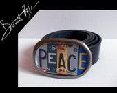 PEACE Vintage license plate belt buckle