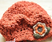 Orange Soft Wool Yarn Handmade Crochet Beret With Flower Decoration