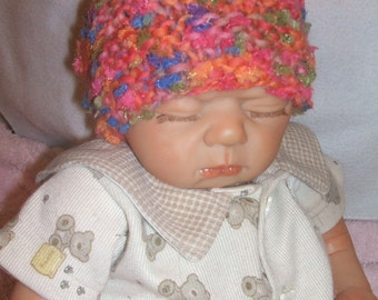orange mix hand knit baby hat, hand knit baby cap unisex hat newborn