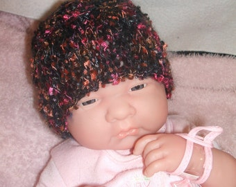 sweet little hand knitted baby hat black, pink and gold small newborn