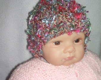 hand knitted baby girl hat / baby girl cap, sparkling hat red & cream mix newborn