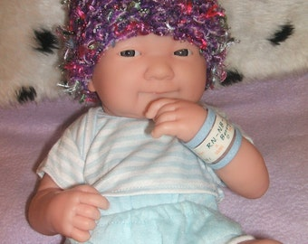SALE cute little hand knitted baby hat purple mix small newborn