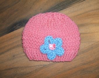 SALE pretty little hand knit baby hat pink with blue flower small newborn/reborn baby