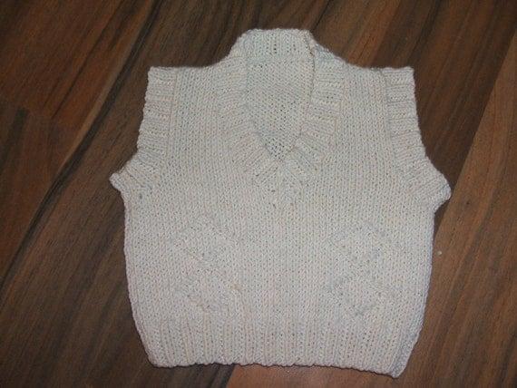 SALE gorgeous little boys hand knitted tank top/sleeveless sweater cream newborn