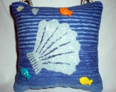 Blue Seashell Whimsical Door Knob Pillow with Fish Buttons Hanger Decor