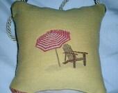 Seashore Beach Umbrella Chair Whimsical Multi Color Door Knob Pillow Hanger Decor