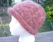 Women's Roll Brim Mohair Wool Hat in shades of Brown & Rust