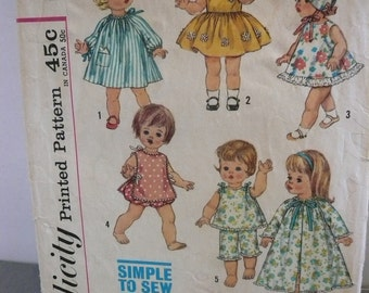 Vintage Simplicity Pattern 4839 for 18 Inch Suzie Sunshine and Chatty Baby