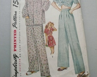 1940s Misses Long and Short Pajamas Antique Simplicity Pattern 1230 Size 16