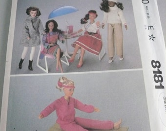 1980s Doll Wardrobe for Barbie Style Dolls Vintage McCalls Pattern 8181  Factory Folded