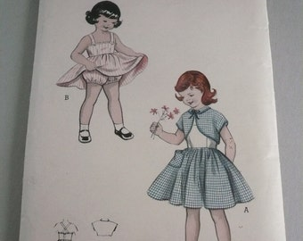 Vintage Butterick Pattern 6864 Girls Sundress, Bolero and Bloomers Size 6