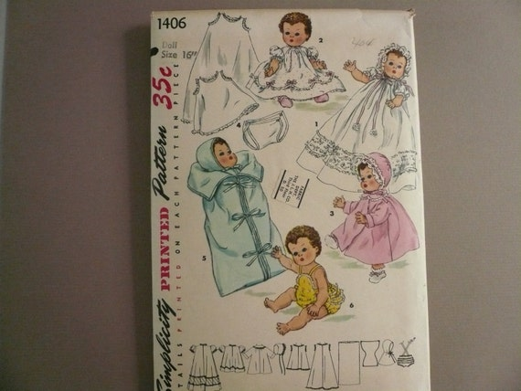 Vintage Simplicity Pattern1406 Wardrobe for 16 Inch Betsy Wetsy  and Tiny Tears