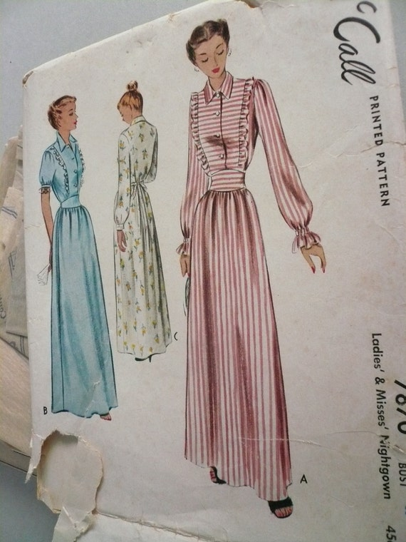 Misses Nightgown - Vintage McCall Pattern 7870 Size 18