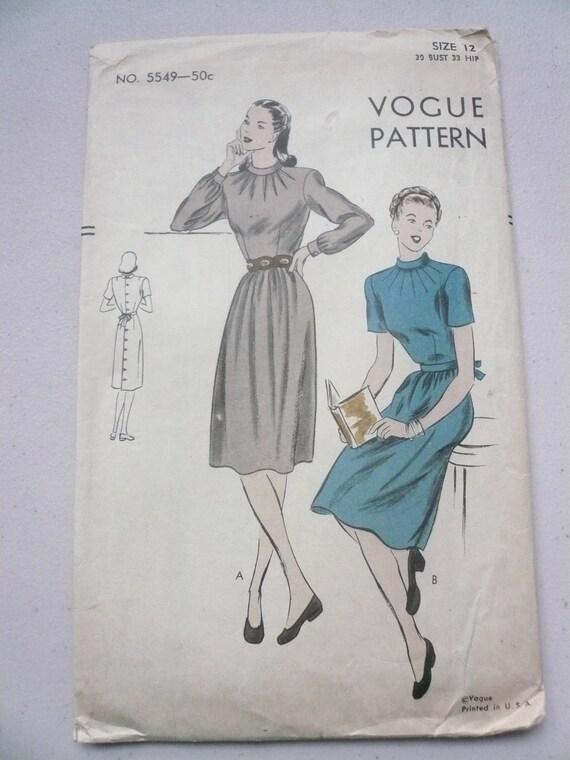 1940s Vogue Pattern 5549 Misses Back Button Dress Size 12 Factory Fold