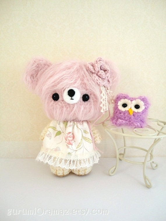 Amigurumi Pink Bear : kawaii amigurumi Bear creamy pink fuzzy and blush mini Owl