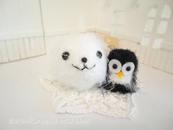 CIJ Sale amigurumi Seal pup kawaii fuzzy white and mini Penguin - Ready to Ship