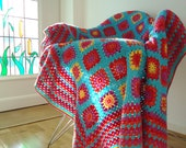 Turquoise granny square blanket afghan