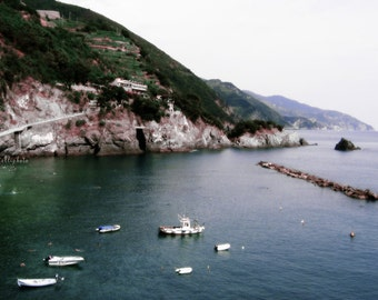 Red Mountain by the Sea - Monterosso, Cinque Terre, La Spezia, Liguria, Italy - Meditteranean Sea Landscape Travel Photography Print 5x7