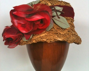 Charming Structured 1950s Open, Straw Weave Hat adorned with Red Flowers and Ribbon