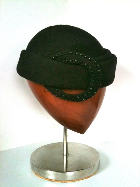 Very Classy, Very 1940s  -' Mr. John' - Black Wool Felt Hat