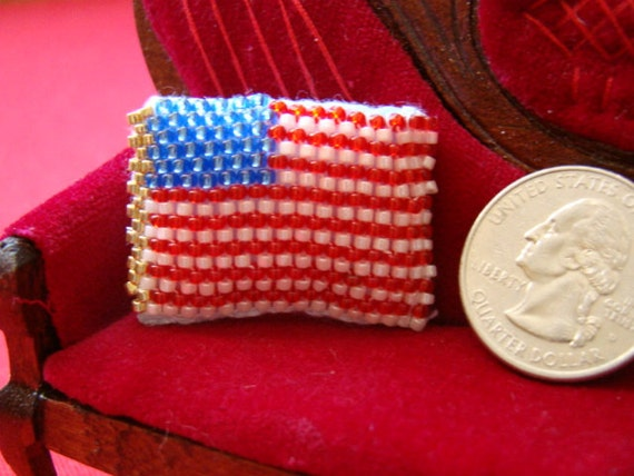 Beaded Pillow -  Patriotic Stars and Stripes Flag miniature