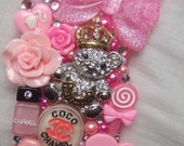 Chunky juicy couture and barbie inspired IPHONE 4 4s cell phone case cover, roses chanel bow lollipop bling rhinestone pearl